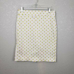 J Crew factory stretch 8 polka dot pencil skirt